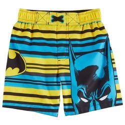 Marvel Batman Toddler Boys Striped Logo Swim Shorts