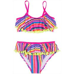 Betsey Johnson Toddler Girls Stripe Ruffle Bikini Swimsuit