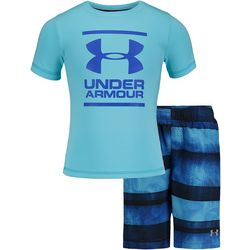Under Armour Toddler Boys Striped Volley Swim Short Set