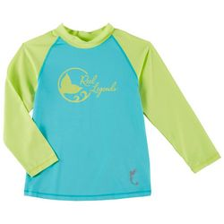 Reel Legends Toddler Girls Colorblock Logo Rashguard