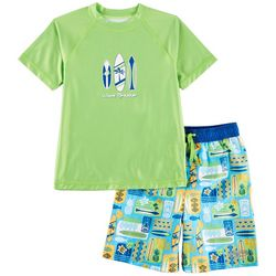 Surfer Zone Toddler Boys Wave Breaker Rashguard Swim Set