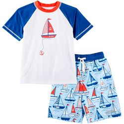 Surfer Zone Toddler Boys Sailboat Rashguard Swim Set