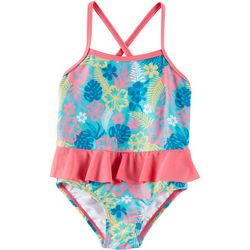 Reel Legends Toddler Girls Hibiscus Ruffle Swimsuit