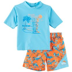 Tommy Bahama Toddler Boys Tiki Sharks Rashguard Swim Set