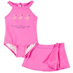 Tommy Bahama Toddler Girls Flamingle Swimsuit Skirt Set