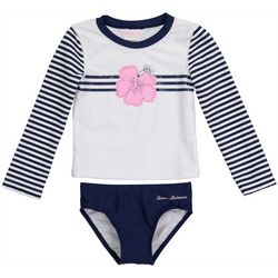 Tommy Bahama Toddler Girls Striped Rashguard Swimsuit