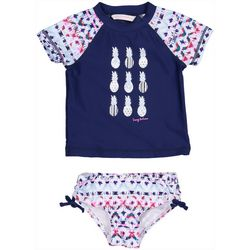 Tommy Bahama Baby Girls 2-pc. Pineapple Rashguard Swimsuit