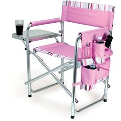 Picnic Time Pink Stripe Sports Chair