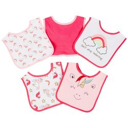 Cutie Pie Baby Baby Girls 5-pk. Smiling Unicorn Bibs