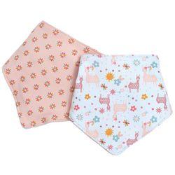 Chick Pea Baby Girls 2-pc. Floral Llama Bandana Bibs Set