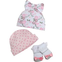 Cutie Pie Baby Baby Girls 3-pc. Floral Hat And Socks Set