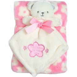 Baby Gear Baby Girls 2-pc. Floral Blanket & Bear Nunu Set