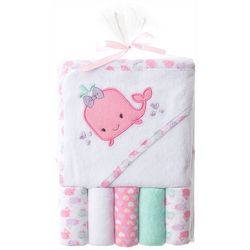 Baby Gear Baby Girls 6-pc. Whale Hooded Towel Set