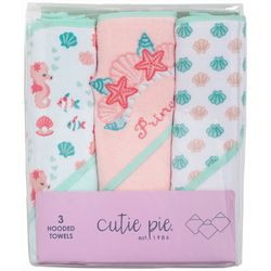 Cutie Pie Baby Baby Girls 3-pc. Starfish Hooded Towel Set