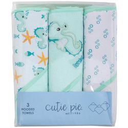 Cutie Pie Baby Baby Boys 3-pc. Seahorse Hooded Towel Set