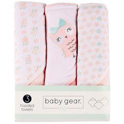 Baby Gear Baby Girls 3-pk. Owl Hooded Towel Set