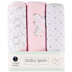 Baby Gear Baby Girls 3-pk. Zebra Hooded Towel Set