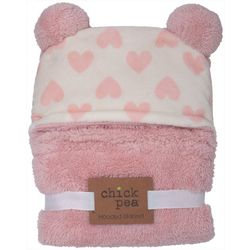 Chick Pea Baby Girls Heart Print Hooded Blanket