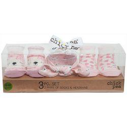 Chick Pea Baby Girls 3-pk. Puppy Sock & Headband Set