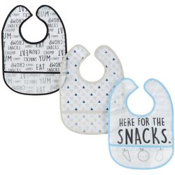 Chick Pea Baby Boys 3-pk. Here For The Snacks PEVA Bibs