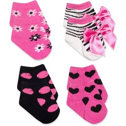 Baby Essentials Baby Girls 4-pk. Mixed Print Bow Socks
