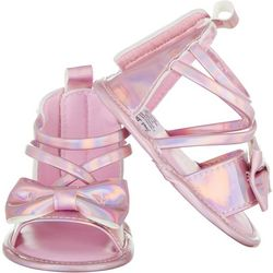 Stepping Stones Baby Girls Shiny Bow Strappy Sandals