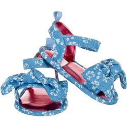 Stepping Stones Baby Girls Chambray Flower Bow Sandals