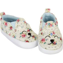 Stepping Stones Baby Girls Floral Bear Slip-On Sneakers
