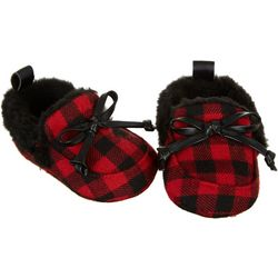 Stepping Stones Baby Boys Plaid Faux Fur Moccasins