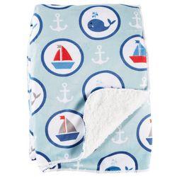 Sweet Dreams Baby Boys Nautical Sherpa Blanket