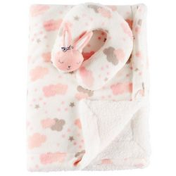 Night Cuddles Baby Girls Bunny Support Pillow & Blanket Set