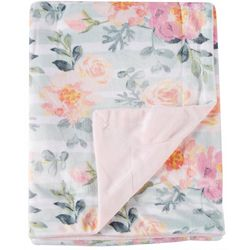 Night Cuddles Baby Girls Floral Stripe Baby Blanket