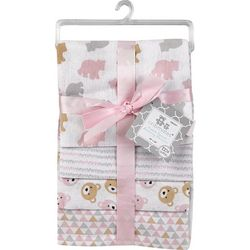 Cribmates Baby Girls 4-pc. Mixed Bear Receiving Blankets
