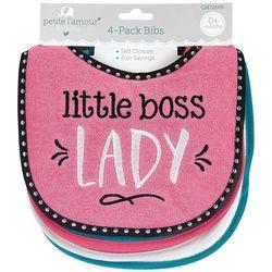 Petite L'Amour Baby Girls 4-pk. Little Boss Lady Bibs