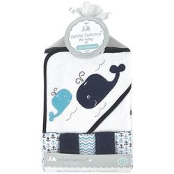 Petite L'Amour Baby 6-pc. Hooded Whale Towel & Washcloth Set
