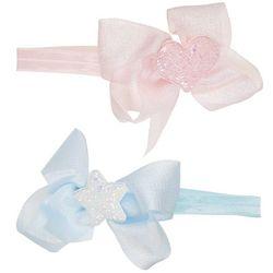 Ava Olivia Baby Girls 2-pk. Heart & Star Bow Headband Set