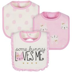 Just Born Baby Girls 3-pk. Some Bunny Loves Me Bibs