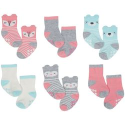 Just Born Baby Girls 6-pk. Critter Grippy Bottom Socks