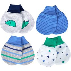 Just Born Baby Boys 4-pk. Organic Striped Dino Mittens