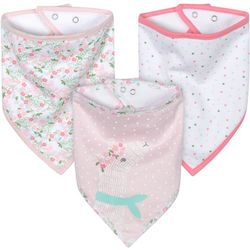 Just Born Baby Girls 3-pk. Organic Llama Bandana Bibs