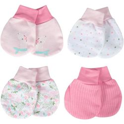 Just Born Baby Girls 4-pk. Organic Floral Llama