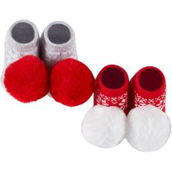 Rising Star Baby 2-pc. Christmas Pom Pom Socks