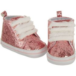 Rising Star Baby Girls Glitter Faux Fur Lace Sneakers