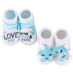 Rising Star Baby Boys 2-pk. Moon And Back Booties
