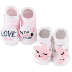 Rising Star Baby Girls 2-pk. Moon And Back Booties
