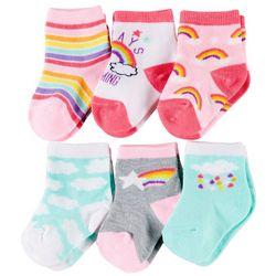 Rising Star Baby Girls 6-pk. Rainbow Socks