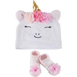 Rising Star Baby Girls 2-pc. Unicorn Hat & Booties Set