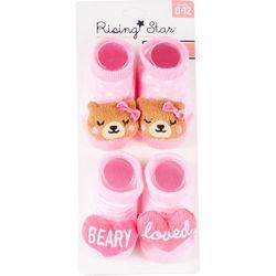 Rising Star Baby Girls 2-pc.Beary Loved Socks Set