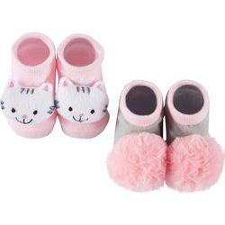 Rising Star Baby Girls 2-pc. Kitty Pom Pom Socks Set