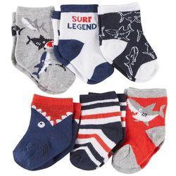 Rising Star Baby Boys 6-pk. Surf Legend Shark Socks